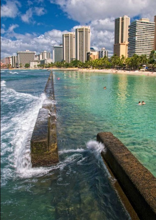 Sea walls at Waikiki Beach in Honolulu